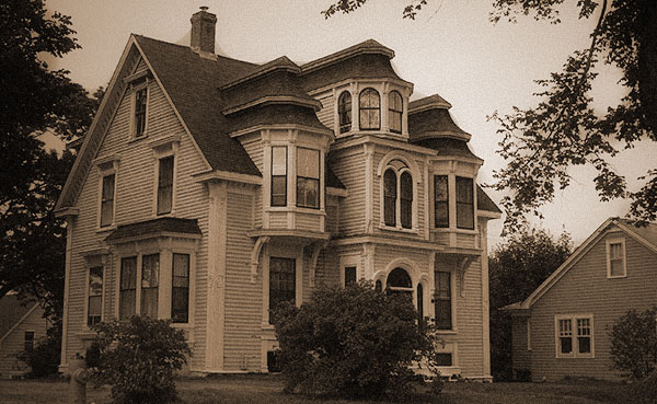 Old house in Lunenburg. Black and white photo.